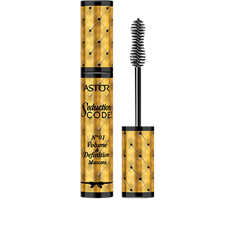 A statement in glamour, the striking cylindrical mascara pack is decorated with a gold criss-cross pattern, giving the effect of luxurious quilted material, and tied at the base with an elegant black bow. The irresistible design is finished with black graphics, written in a feminine italic font. The new Seduction Codes franchise with the N°01 Volume & Definition Mascara has a very chic and truly boudoir-beautiful design.
