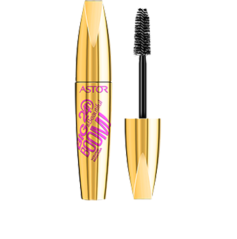 Big & Beautiful 24H Boom! Mascara not only makes an impact on your lashes but also in your make-up bag. You carry now a true beauty-weapon! The curvaceously-shaped bottle is coloured a decadent metallic shiny gold, creating a striking and luxurious style statement. The bold black graphics sweep diagonally across the bottle, increasingly in size on the word 'Boom!' to indicate the mascara's high-speed volume performance. This is a mascara that can't fail to go unnoticed!