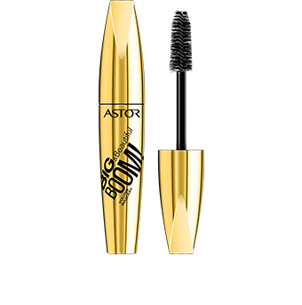 This eye opening mascara Big & Beautiful BOOM! Volume Mascara is packaged in a metallic gold pack with stylish black graphics. Unscrew the lid to reveal the black brush inside to stay chic! Like the rest of Astor's Big & Beautiful range, the pack is satisfyingly big and curvaceous to hold – you can't miss it.