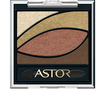 Look out for the chic new EyeArtist Eye Shadow Palette pack design. The square, black palette has a transparent lift-up lid beneath which the four eyeshadow shades are laid out in the shape of an eye. This clever design not only looks playfully elegantly but also makes it even easier to see where each shade should be applied. The stylish pack is finished with the distinctive Astor logo in gold.