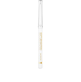 Pure, designed and graphic, the Soft Sensation Moisturizing Lipliner is presented in an easy-use retractable automatic pencil format. Topped with a clear lid, the very modern white pencil is embellished with deluxe gold graphics and a sleek gold branded band.